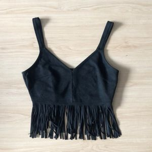 Top Shop cropped fringe top